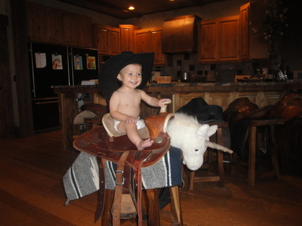 Kaeden age 2 riding his horse at BoulderCrest Ranch